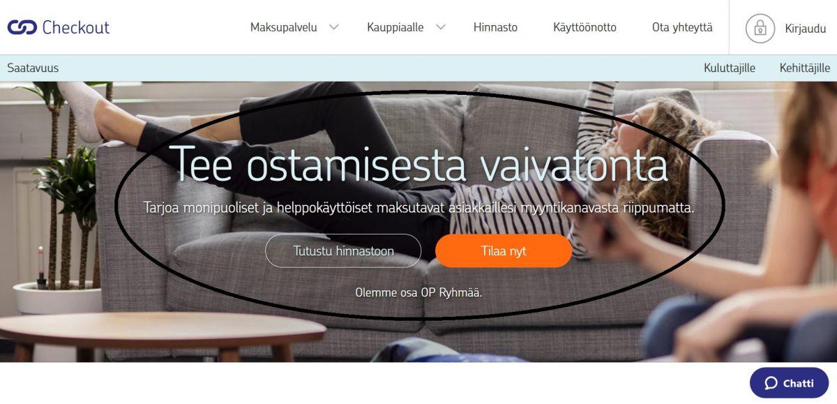Konversio-optimointi Checkout maksupalvelun etusivu.